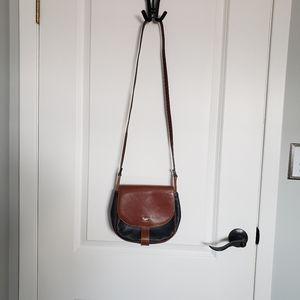 VINTAGE BALLY Brown & Black Crossbody Bag Satchel